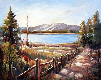 Doreen Abegg Oil Painting of Snow Summit in Big Bear Lake CA